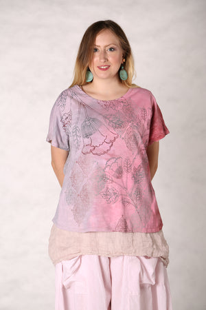 1250 HD Hand Dyed Moon Tee Strawberry /Fog /Floral-P