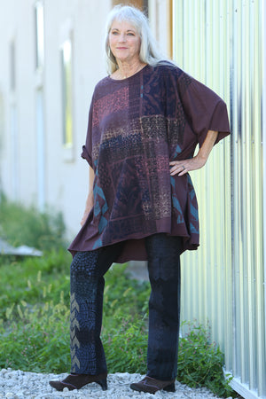 1255 Oversized Tunic Tee-Burnt Sugar-Printed