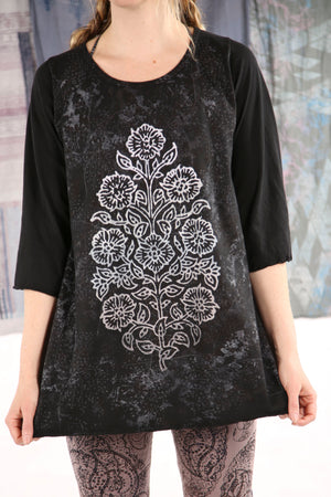 1145 Cafe Tee S/S -Black with White Floral Print-P