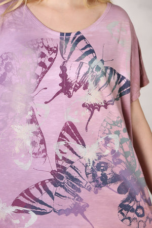 1250 HD Hand Dyed Moon Tee Plum/Rose/Pink Butterflies-P
