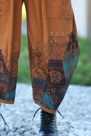 3298 Four Square Pant -Amber- Printed