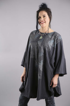 Camp Oversized Graphite Tunic Printed-2262F