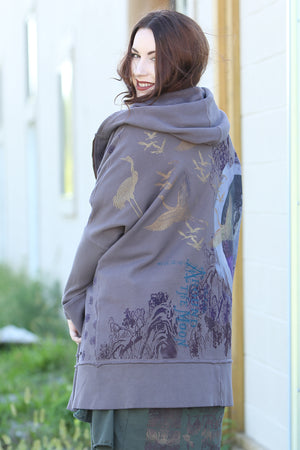 5261 Slim Rib Hoodie Organic Cotton -Flint-Forest Moon Printed