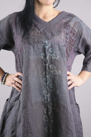 Crossover Linen Blue Violet Tunic Printed-2133F