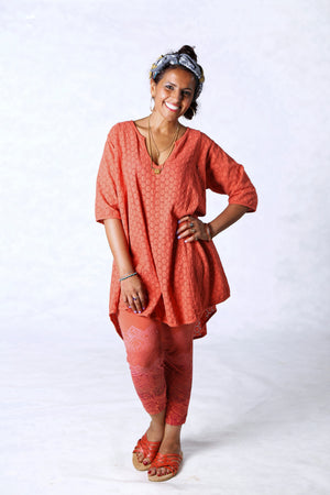 2264-Bliss Top Eyelet-Coral-U