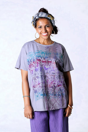 1253-The Berna Tee-Purple-Animal Garden Textile Print