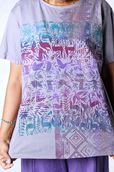 1253 The Berna Tee Purple Animal Garden Textile Print-P