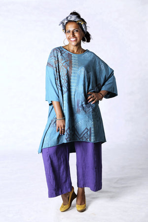 1255 Oversized Tunic Tee-Teal-Printed