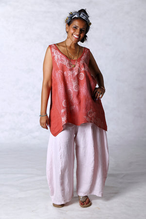 1196 Linen Tank Coral Printed