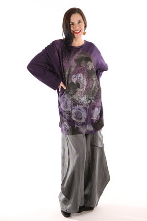 1230-PLUS Hemp Organic Cotton Top- Purple -Secret Garden