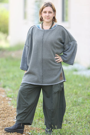 1249 Nanti Sherpa Knit Reversible Sweatshirt-Night Forest