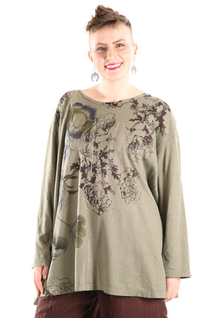1230-PLUS Hemp Organic Cotton Top Army Green Floral