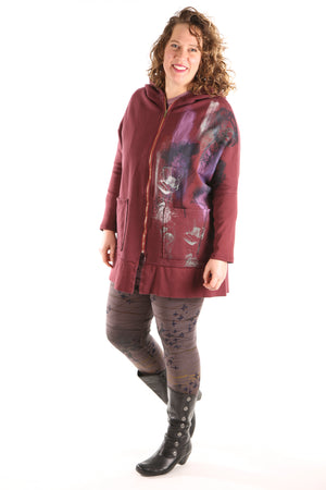 5261 New Square Rib Zipper Hoodie Ancient Burgundy Painterly