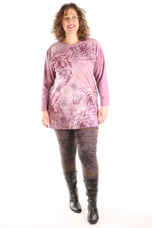 1157HD- L/S Hand Dyed Studio Tee Mottled Berry Pinks Printed