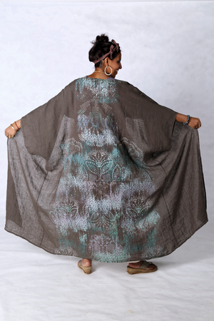 5267 Long Kimono Duster Bark Delicate Lace All Over Hand Print-P