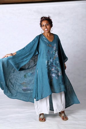5267 Long Kimono Duster-Teal-Painted Pastel Floral