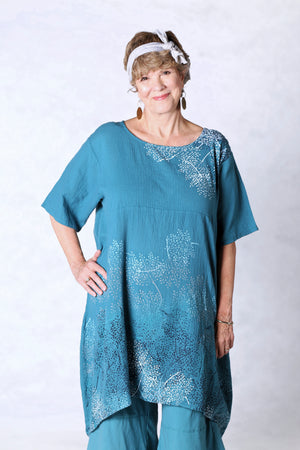 2301 Gauze Urchin Dress-Teal-Delicate Floral Pattern