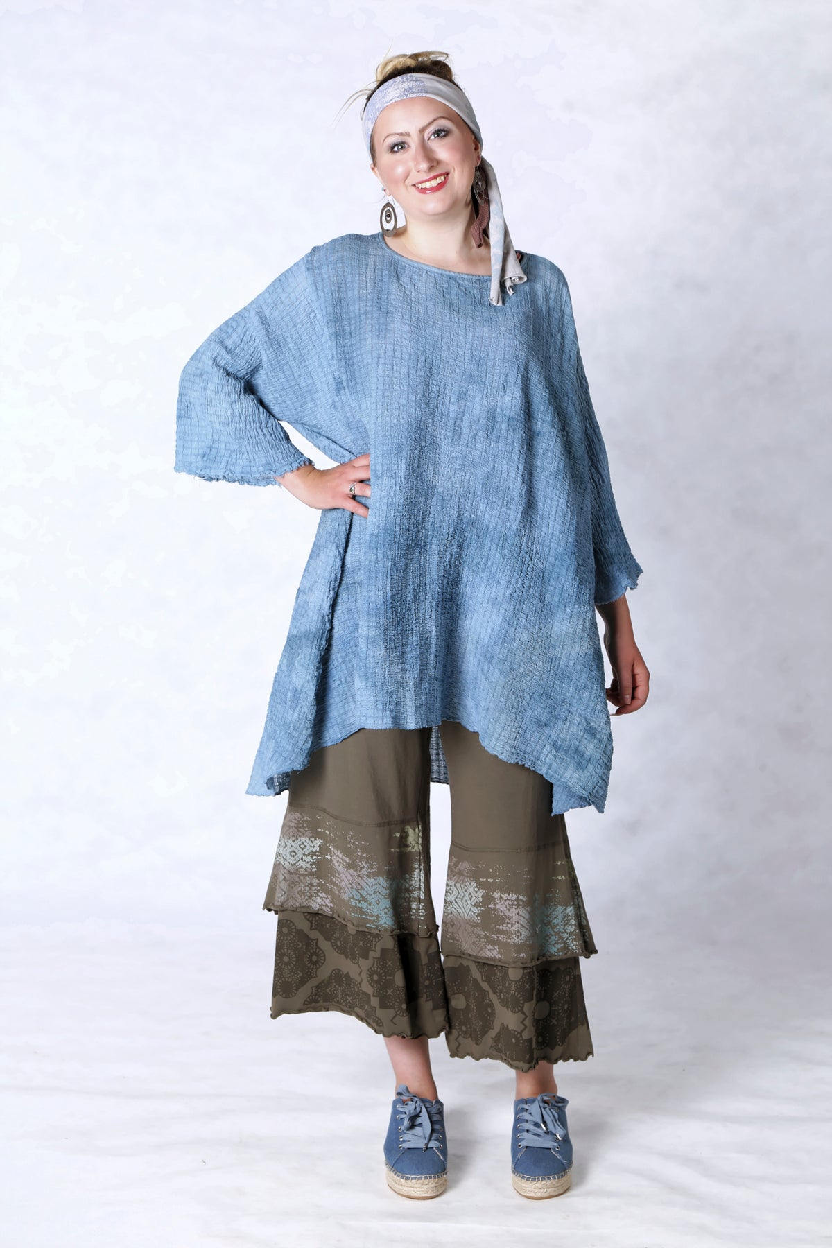 2282 Hand Dyed Ana Tunic-Clear Lake-O/S