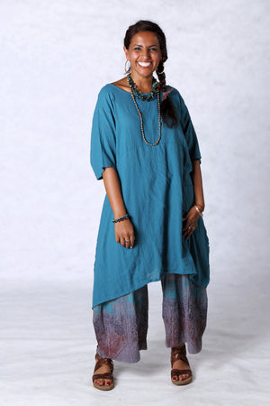 2301 Gauze Urchin Dress-Teal-Unprinted