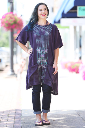 2261-Sea Clouds Linen Dress Royal Purple