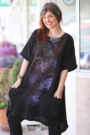 2261-Sea Clouds Linen Dress Black-P