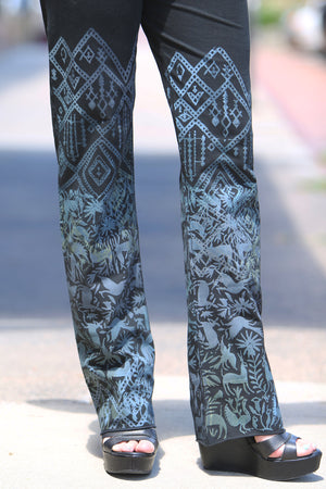 3176 Comfy Cotton-Lycra Slim Pant- Black- Simple Print- Blues /Gray
