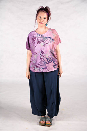 1250 HD Hand Dyed Moon Tee Plum/Rose/Pink Butterflies  P