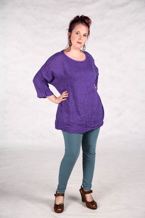 L594-Oversized Square Linen Top-Violet-UNprinted