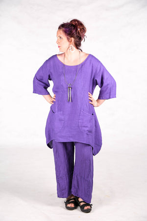 2265  Pinch Pocket Tunic Violet Unprinted