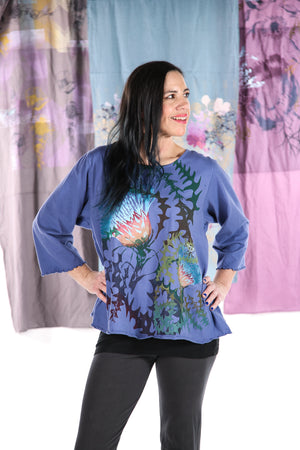 1145 S/S Spring Length Cafe Tee Elemental Blue Thistle Design-P