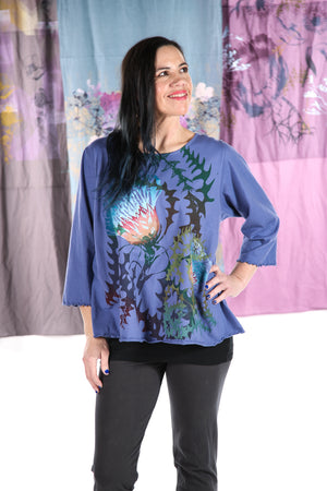 1145 S/S Spring Length  Cafe Tee -Elemental Blue-Printed Thistle Design