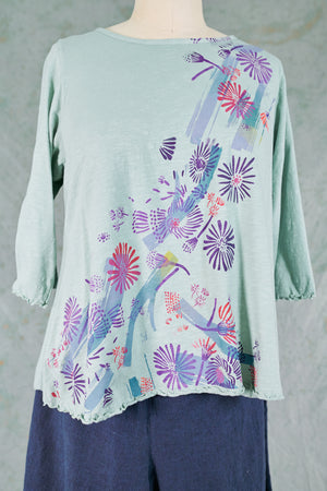 1145 Slub Cafe Tee-Aquamarine-Bright Floral