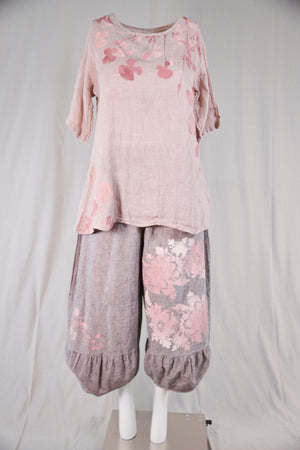 1210 Linen Simple Tunic-Natural Pink-P