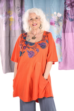 1241 Be Here Now Tunic Saffron -P-bright folkloric