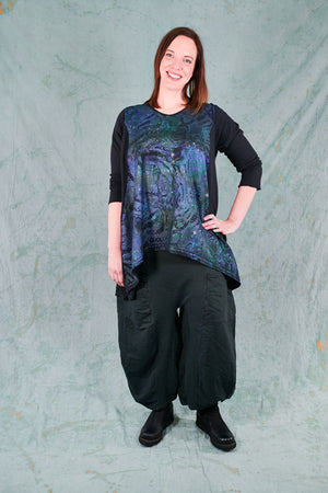 1244 Organic Hemp Cotton Hi Lo Tunic-Black-P