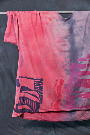 1255HD Art Tunic-Pink Guava Lavender Grey-Modern Abstract-P