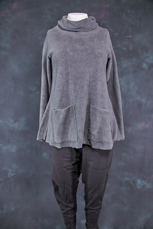 1246 Sherpa L/S Cowl Sweatshirt Smoked Glass-U