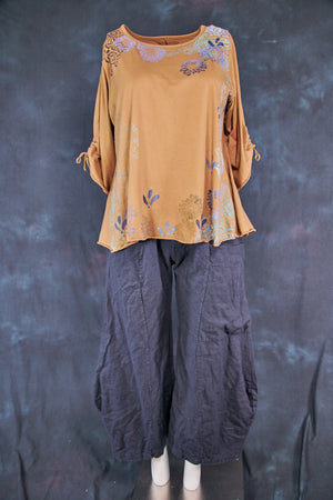 1578 Cafe Tee with Drawcord Sleeves-Coyote-P