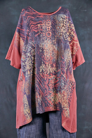 1581 Vertical Seamed Drawcord Tunic-Rose Canyon-Marrakesh-P