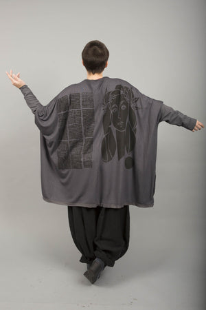 Celebration Cardigan Light Charcoal Printed