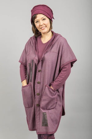 Raw Edge Hooded Cape Patched Plum Rose-Blue Fish Clothing