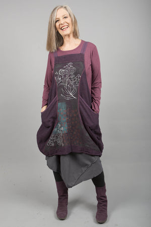 Hemp Denim Layering Jumper Plum Rose Printed-Blue Fish Clothing