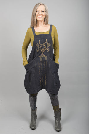 Hemp Denim Layering Jumper Tree of Life Dark Charcoal-Blue Fish Clothing