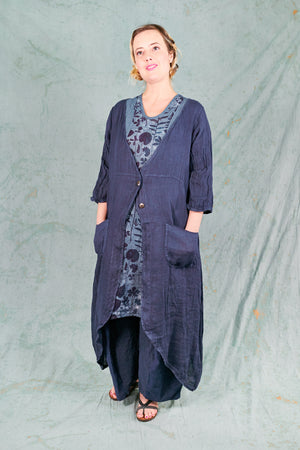 5292 Cyanotype Linen Duster-Blue Ink-U