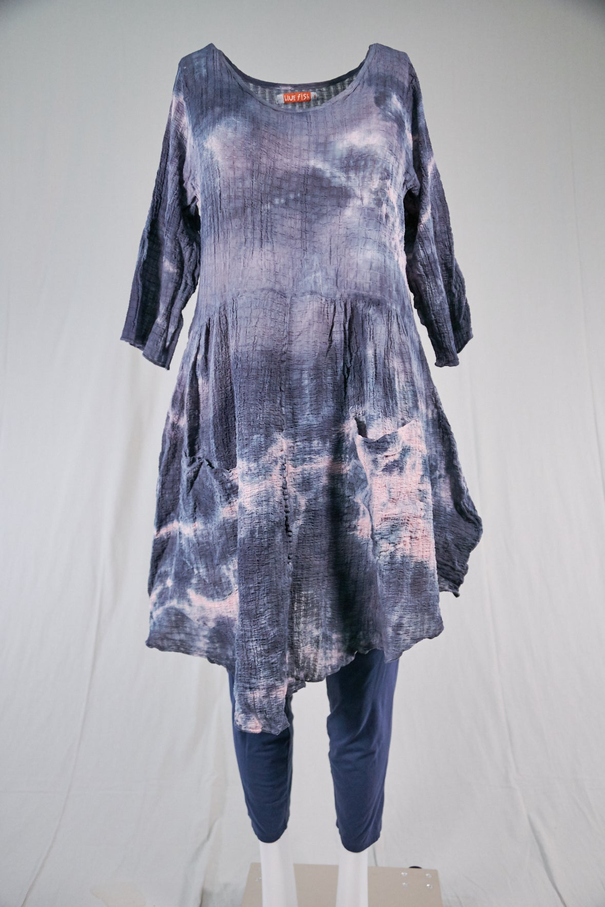 2259 Hand Dyed 2 Pocket Crinkle Dress-Blue Black Ink w/Pale Pink