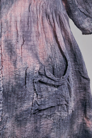 2259 Hand Dyed 2 Pocket Crinkle Dress-Grey Blue Lake w/Pink