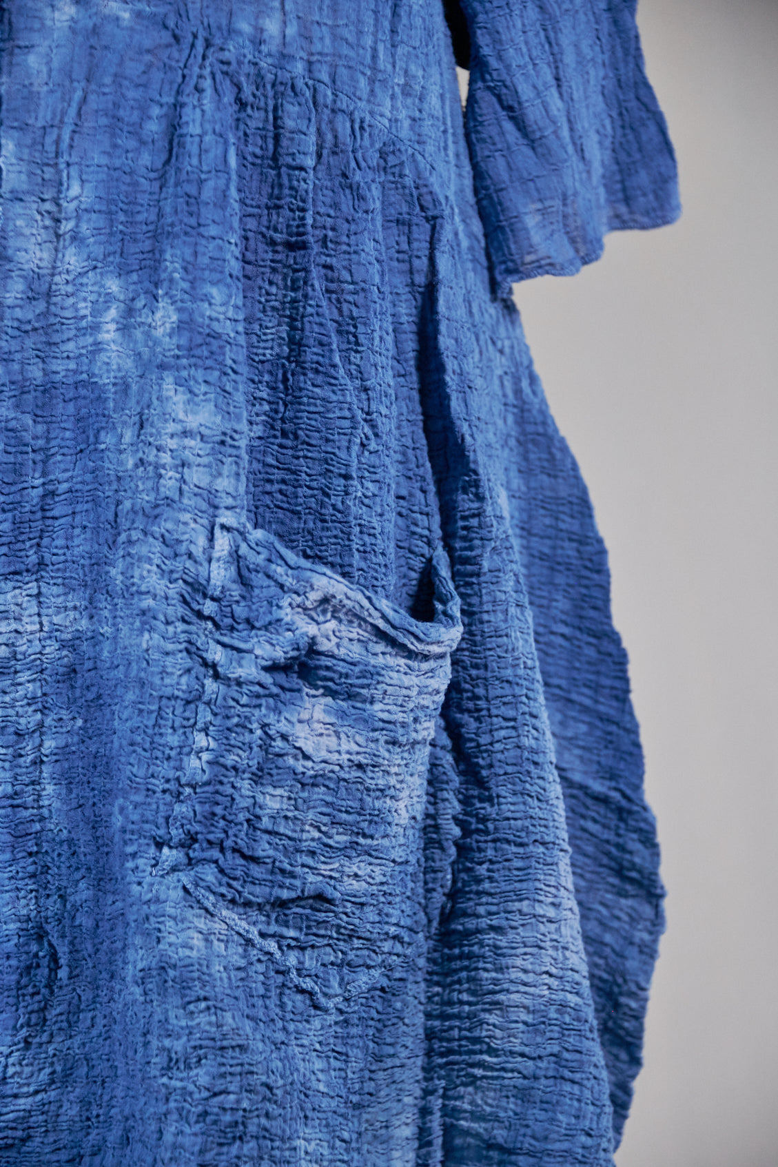 2259 Hand Dyed 2 Pocket Crinkle Dress-Indigo ( deep blue) Clouds