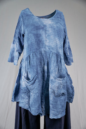 2259 Hand Dyed 2 Pocket Crinkle Dress-Cloudy( lt blue)Sky