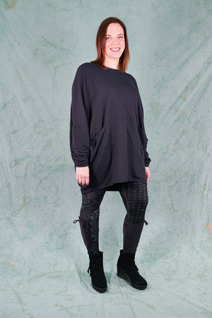 2296 Cocoon Pullover Plumblack-Unprinted