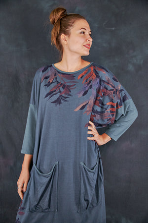 2303 Mariposa Dress Cotton Bamboo Hypnea-Sage Leaves